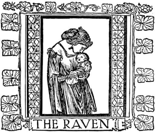 An illustration for the story The Raven by the author The Brothers Grimm