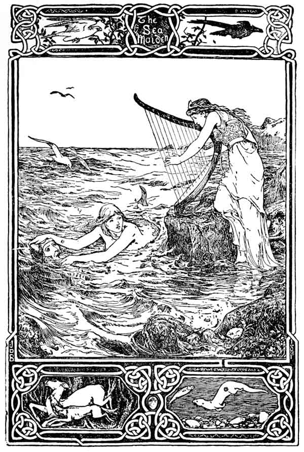 An illustration for the story The Sea-Maiden by the author Joseph Jacobs