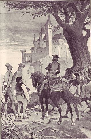 An illustration for the story The Six Servants by the author The Brothers Grimm
