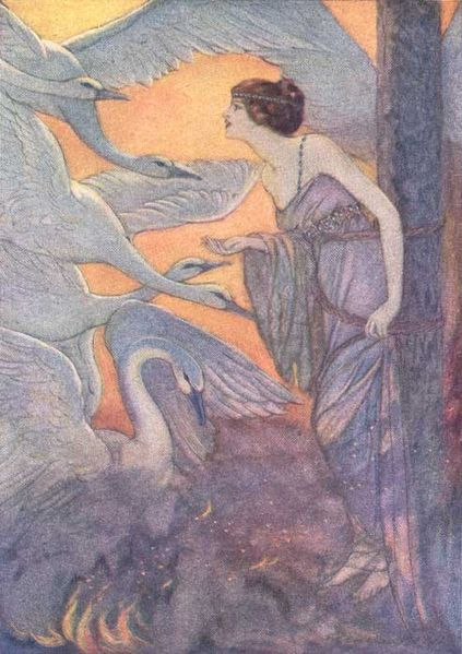 An illustration for the story The Six Swans by the author The Brothers Grimm
