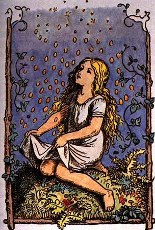 An illustration for the story The Star-Money by the author The Brothers Grimm