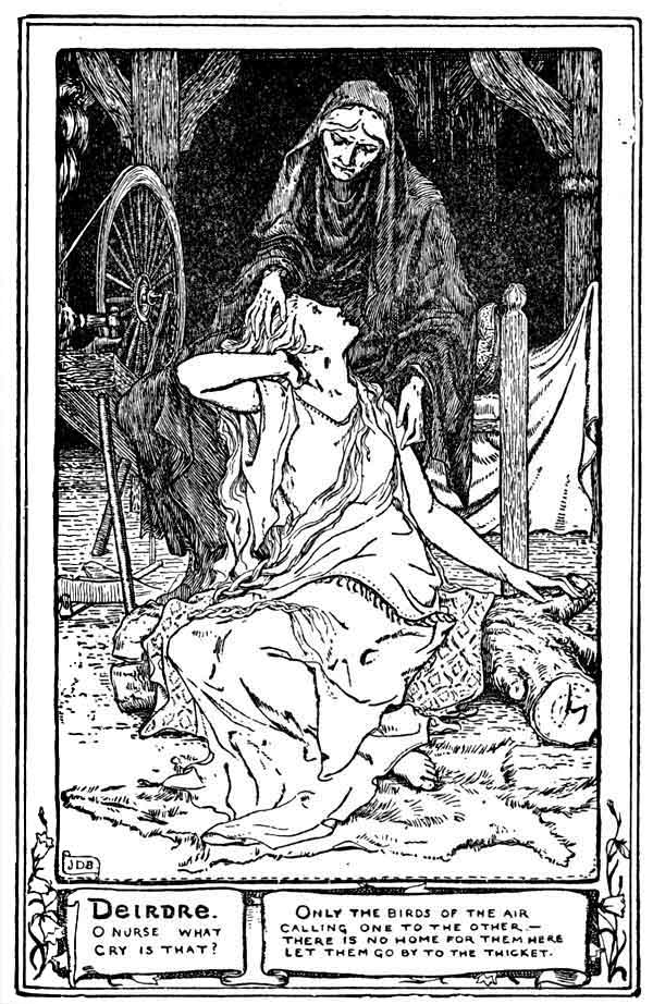 An illustration for the story The Story of Deirdre by the author Joseph Jacobs