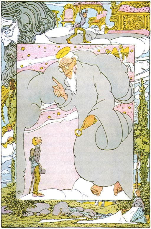 An illustration for the story The Tailor in Heaven by the author The Brothers Grimm