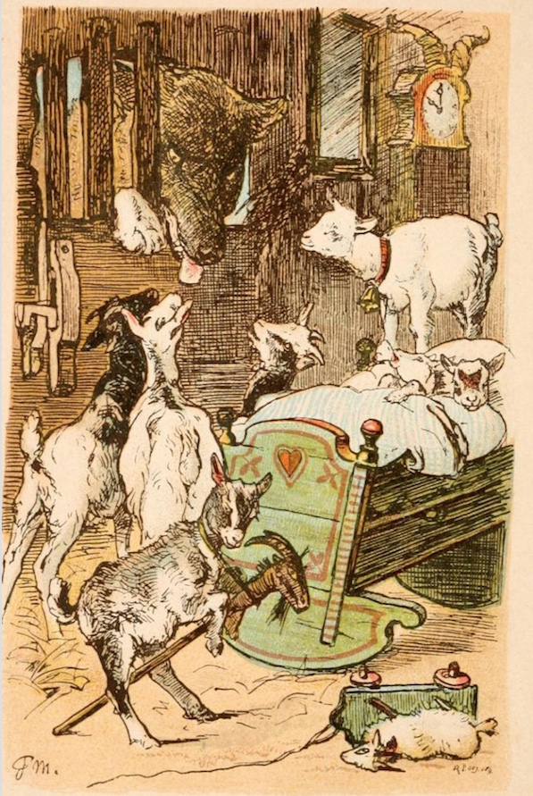 An illustration for the story The Wolf and the Seven Little Kids by the author The Brothers Grimm