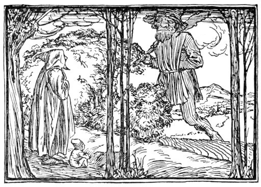 An illustration for the story Thumbling the Dwarf and Thumbling the Giant by the author The Brothers Grimm