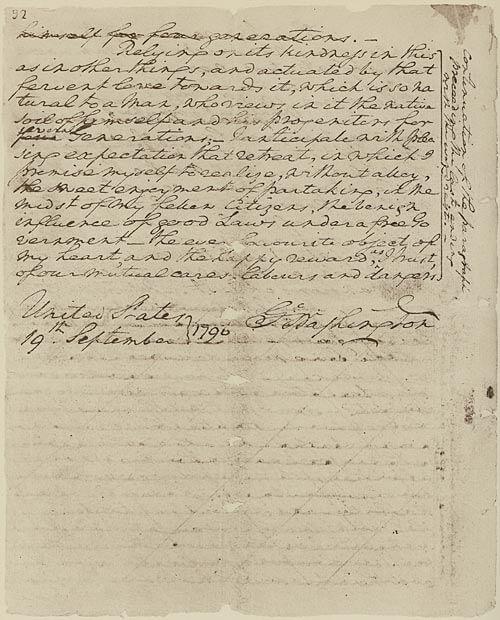 George Washington's Farewell Address, September 19, 1789