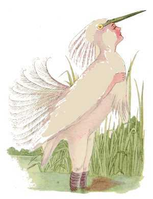Elizabeth Gordon, Bird Children, snowy-heron