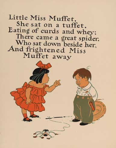 illustration for Little Miss Muffet Nursery Rhyme