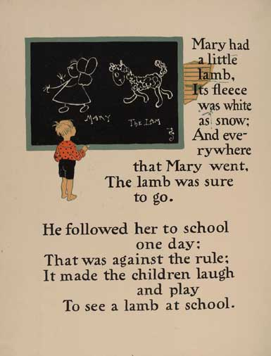 illustration for Mary Had a Little Lamb Nursery Rhyme