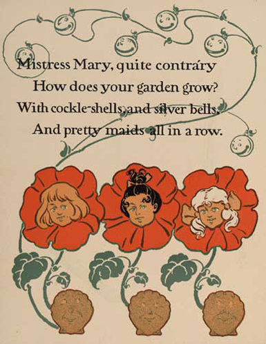 illustration for Mistress Mary Quite Contrary Nursery Rhyme