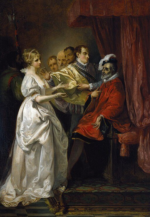 Francis Wheatley, Helena and Count Bertram Before the King, All's Well That Ends Well, Act II, 1793