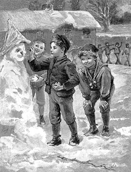 An illustration for the story A Snow Man by the author Anonymous
