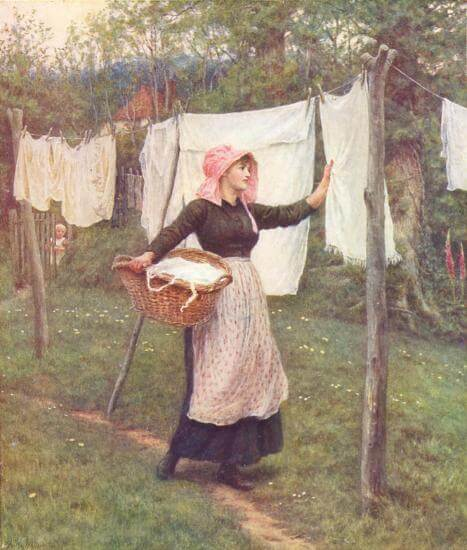 An illustration for the story A Thought for Washing Day by the author Julia Ward Howe