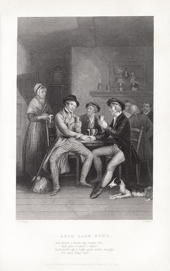 An illustration for the story Auld Lang Syne by the author Robert Burns