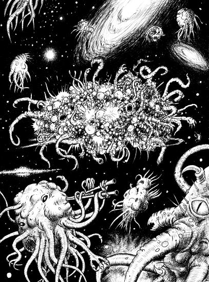 An illustration for the story Thought and Space by the author Ray Bradbury