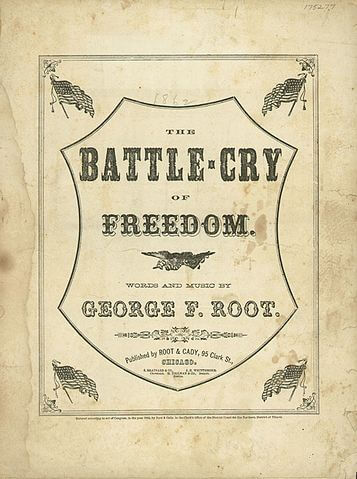 An illustration for the story Battle Cry of Freedom by the author George Frederick Root