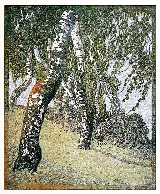 An illustration for the story Birches by the author Robert Frost