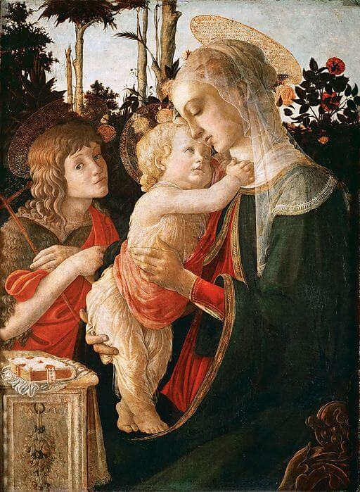 An illustration for the story Botticelli's Madonna in the Louvre by the author Edith Wharton