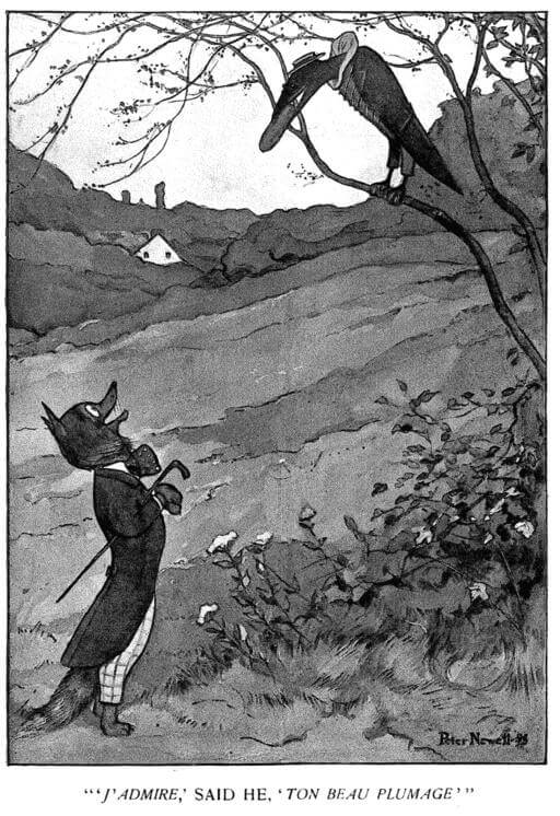 An illustration for the story The Sycophantic Fox and the Gullible Raven by the author Guy Wetmore Carryl