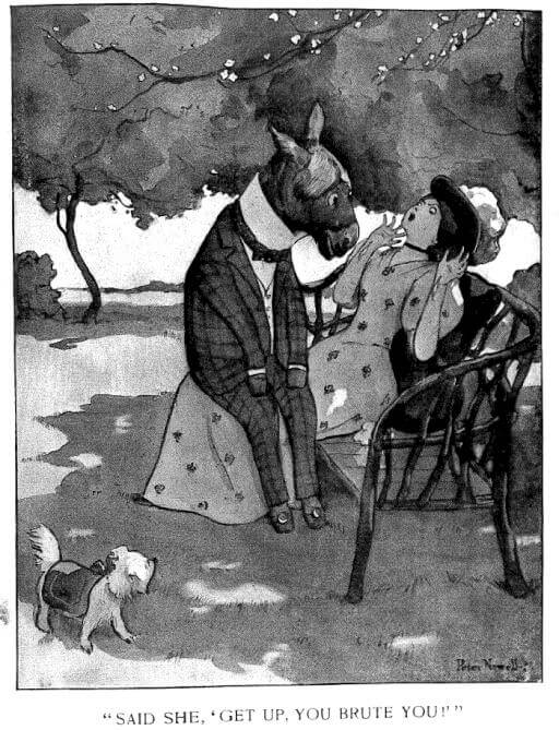 An illustration for the story The Pampered Lapdog and the Misguided Ass by the author Guy Wetmore Carryl
