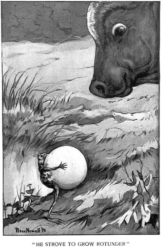 An illustration for the story The Arrogant Frog and the Superior Bull by the author Guy Wetmore Carryl
