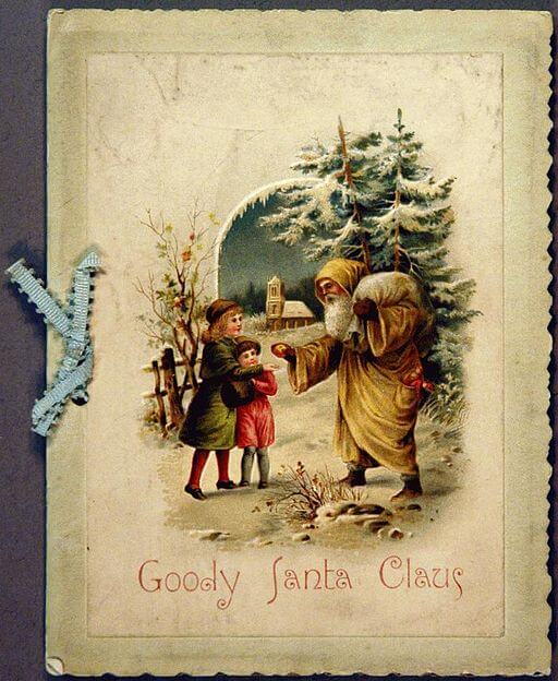 An illustration for the story Goody Santa Claus on a Sleigh Ride by the author Katharine Lee Bates
