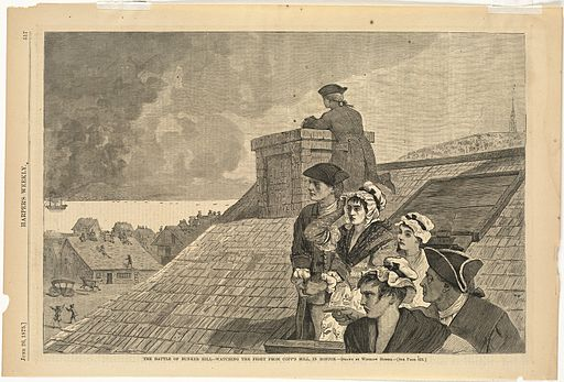 An illustration for the story Grandmother's Battle of Bunker Hill as She Saw It From the Belfry by the author Oliver Wendell Holmes