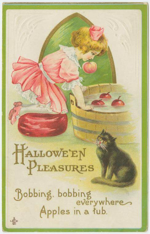 Halloween vintage postcard, bobbing for apples