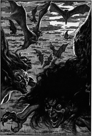 An illustration for the story Hallowe'en in a Suburb by the author H. P. Lovecraft