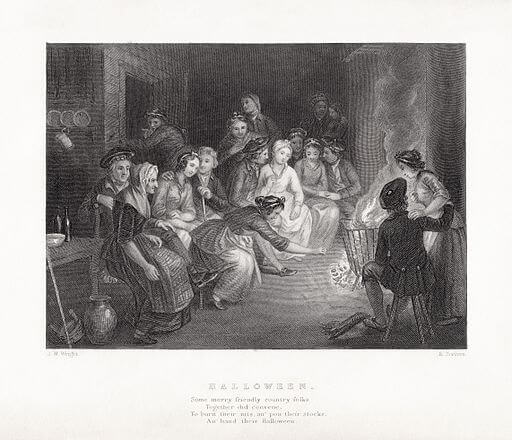 An illustration for the story Halloween by the author Robert Burns
