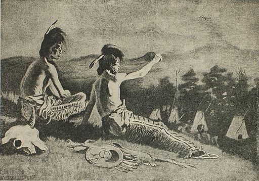 An illustration for the story The Song Of Hiawatha - I - The Peace-Pipe by the author Henry Wadsworth Longfellow