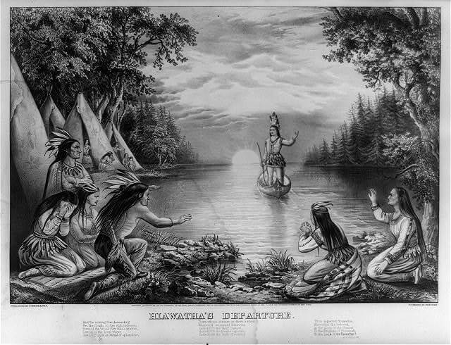 An illustration for the story The Song of Hiawatha by the author Henry Wadsworth Longfellow