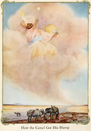 An illustration for the story How the Camel Got His Hump (poem) by the author Rudyard Kipling