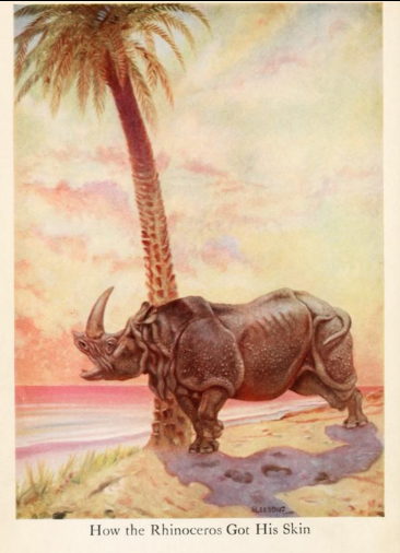 An illustration for the story How The Rhinoceros Got His Skin (poem) by the author Rudyard Kipling