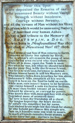 An illustration for the story Inscription on the Monument of a Newfoundland Dog by the author Lord Byron