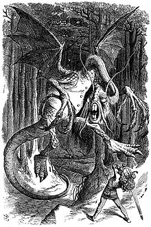 An illustration for the story Jabberwocky by the author Lewis Carroll