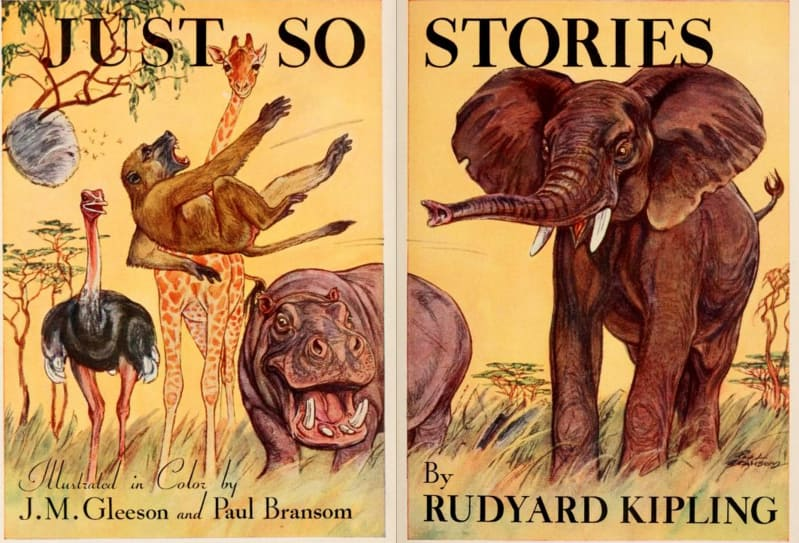 An illustration for the story Just So Stories (poems) by the author Rudyard Kipling