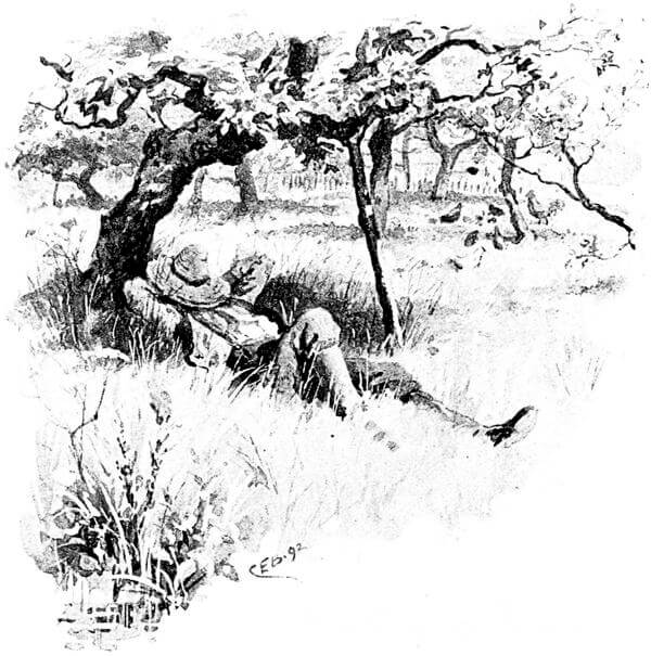 An illustration for the story Knee-Deep in June by the author James Whitcomb Riley