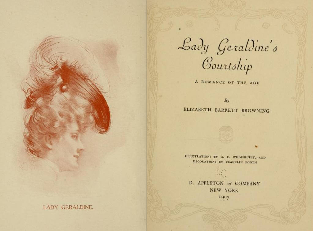 An illustration for the story Lady Geraldine's Courtship by the author Elizabeth Barrett Browning