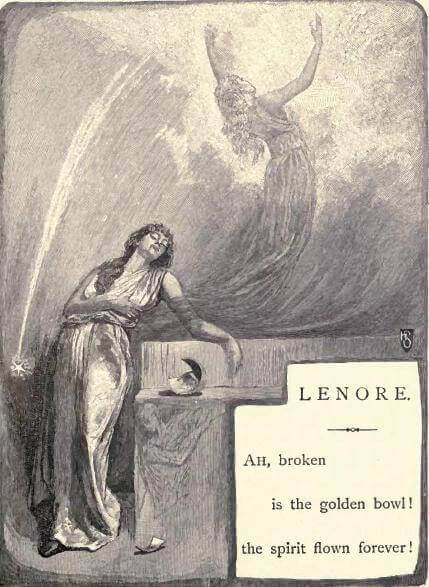 An illustration for the story Lenore by the author Edgar Allan Poe