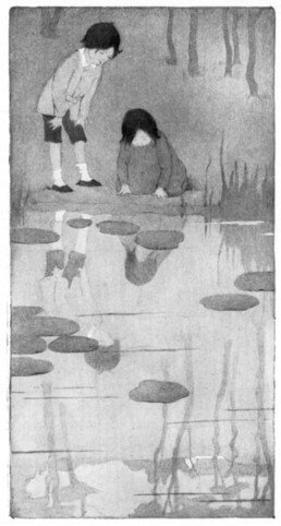 An illustration for the story Looking-Glass River by the author Robert Louis Stevenson