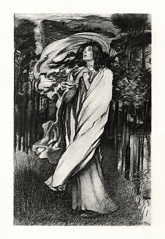 An illustration for the story The Death of Oenone by the author Alfred Lord Tennyson