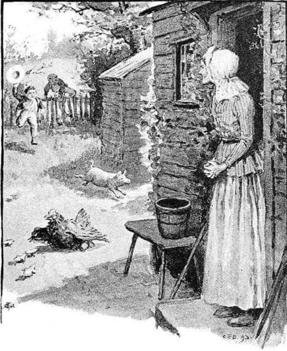 An illustration for the story Old Aunt Mary's by the author James Whitcomb Riley