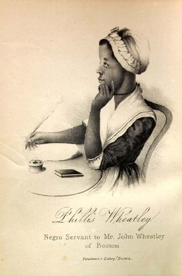 An illustration for the story On Being Brought from Africa to America by the author Phillis Wheatley