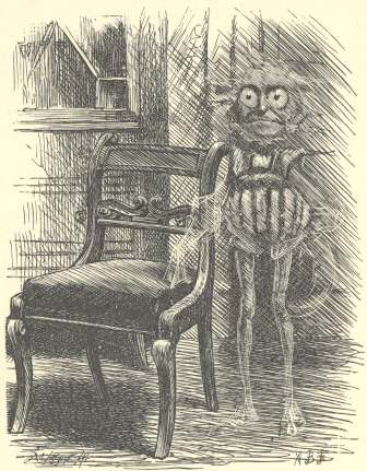 An illustration for the story Phantasmagoria by the author Lewis Carroll