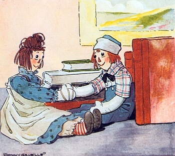 An illustration for the story The Raggedy Man by the author James Whitcomb Riley