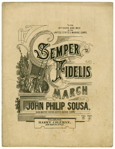 An illustration for the story Semper Fidelis by the author John Philip Sousa