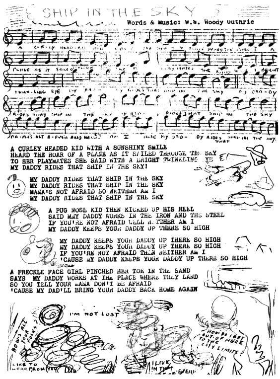 An illustration for the story Ship in the Sky by the author Woody Guthrie