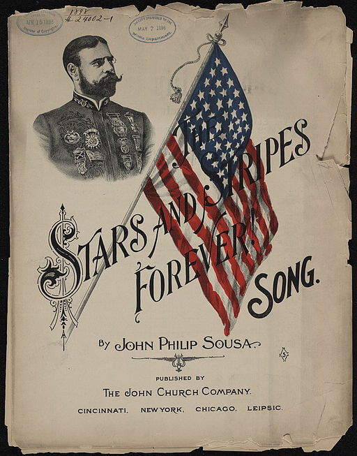 An illustration for the story Stars and Stripes Forever by the author John Philip Sousa