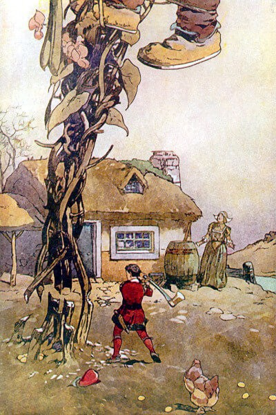 An illustration for the story The Bean-Stalk by the author Edna St. Vincent Millay